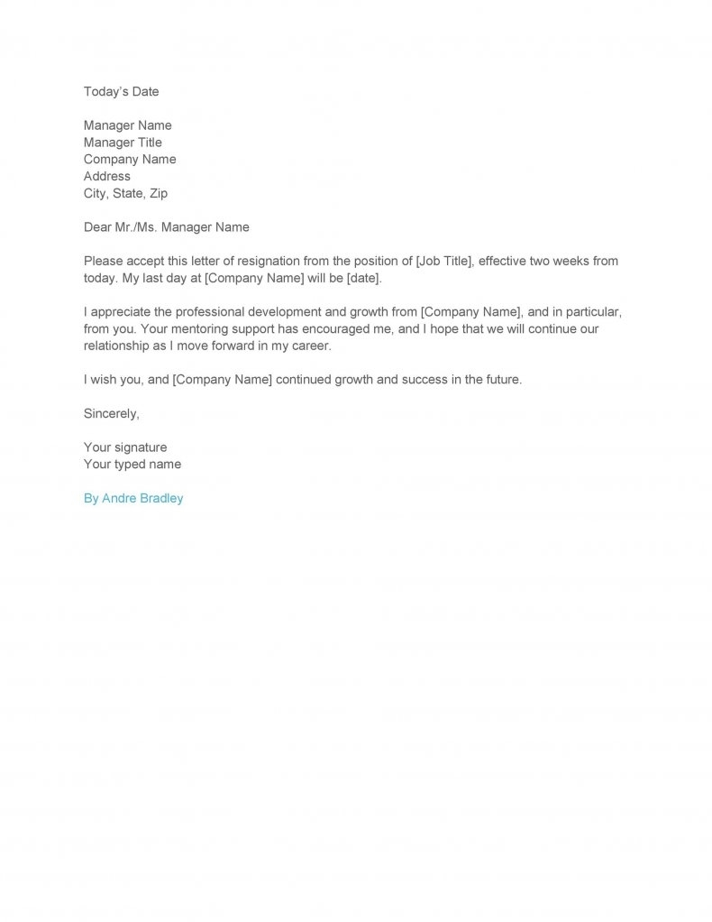 Two weeks notice letter template01