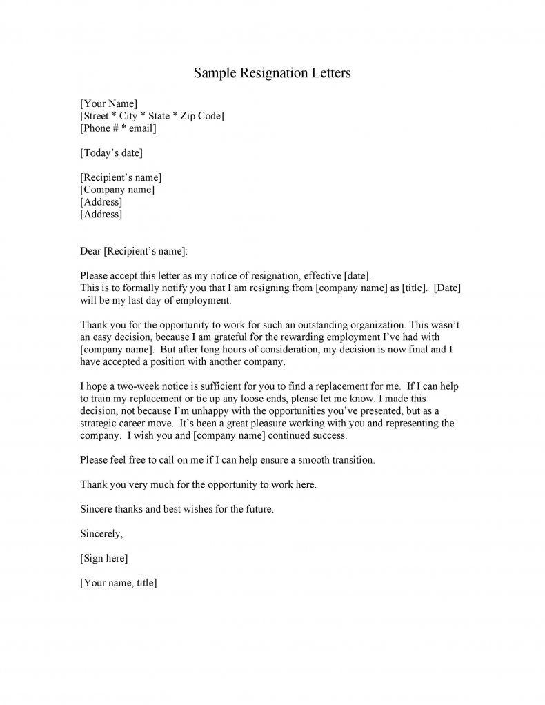 Two weeks notice letter template04