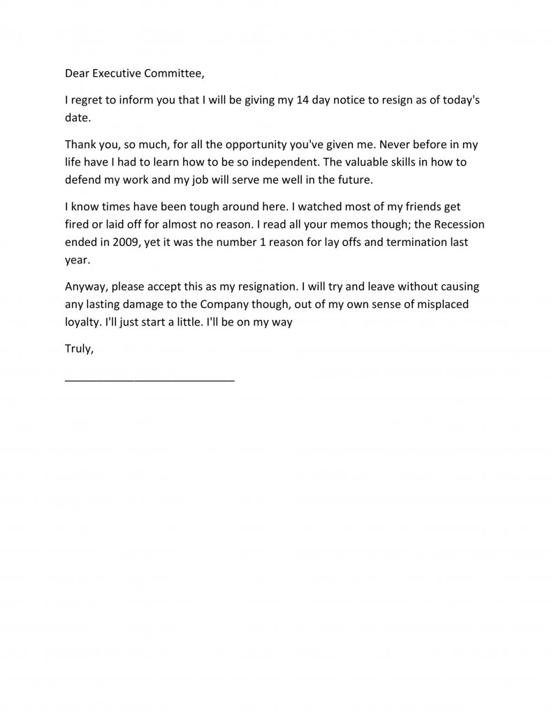 Two weeks notice letter template06