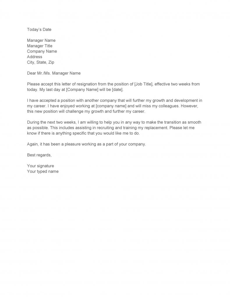 Two weeks notice letter template07