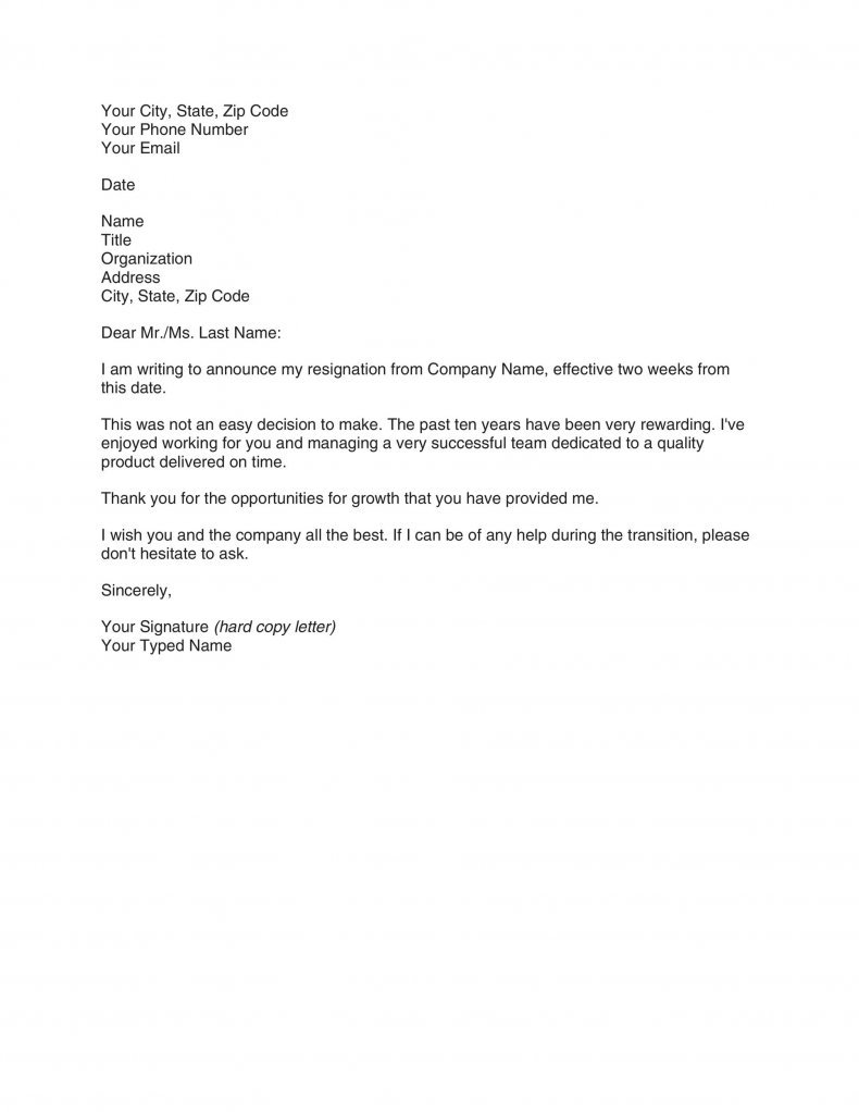 Two weeks notice letter template08