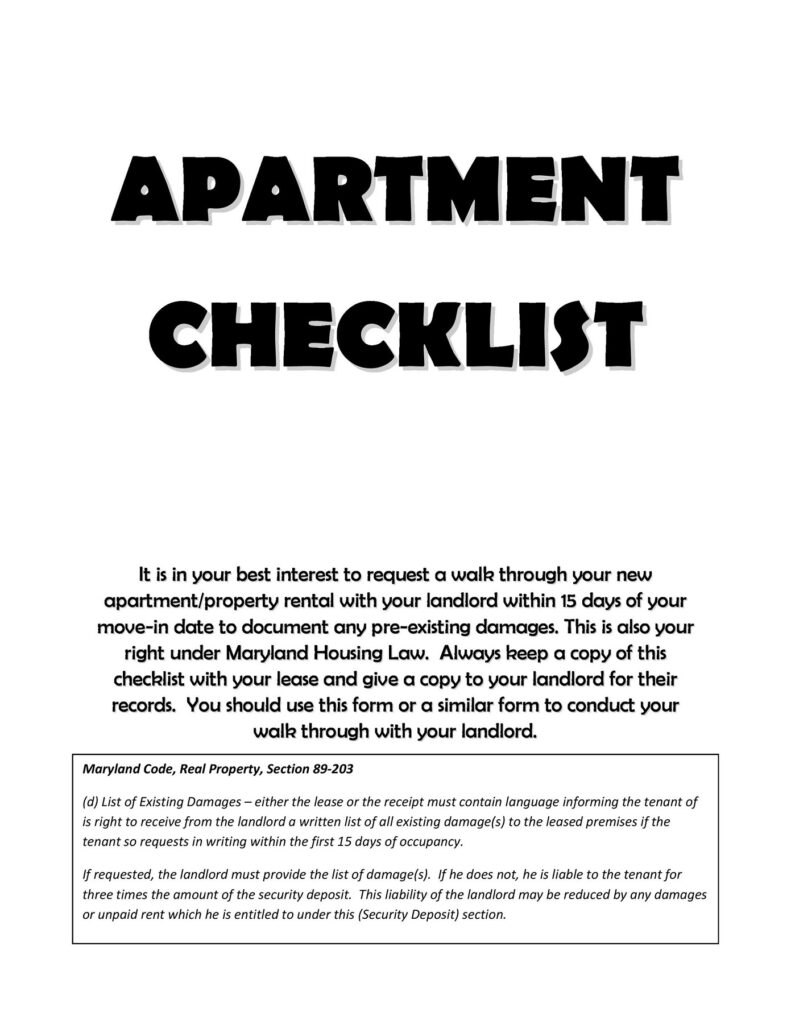 apartment checklist 13