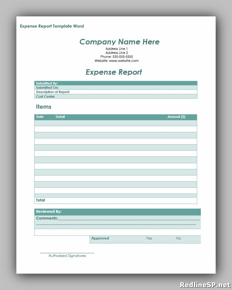 expense report template word