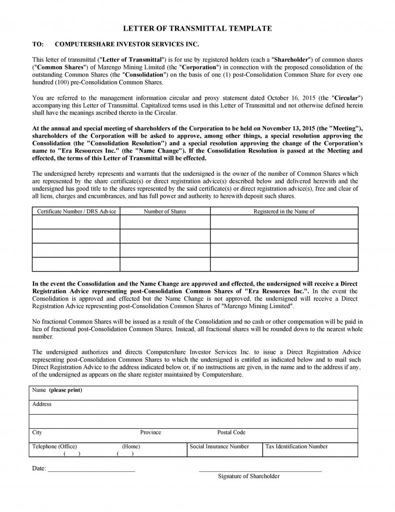 letter of transmittal example 23