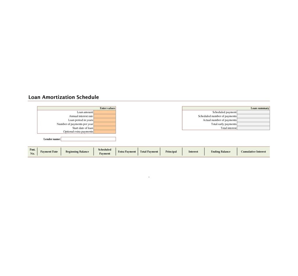 loan amortization schedule example 15