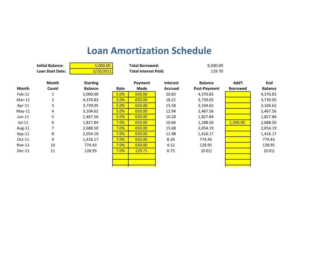 loan amortization schedule example 25
