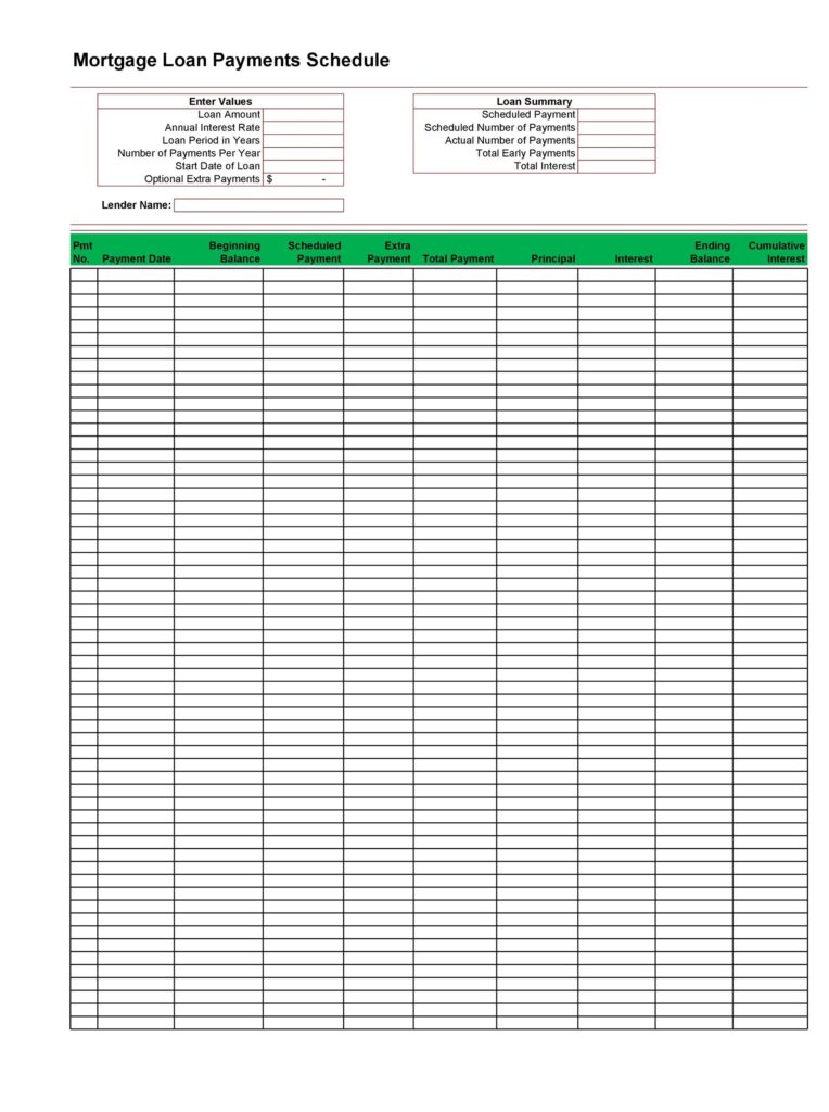 loan amortization schedule template 13