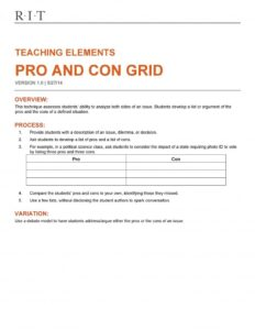 pros and cons list template 10