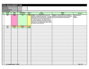 risk register template 13