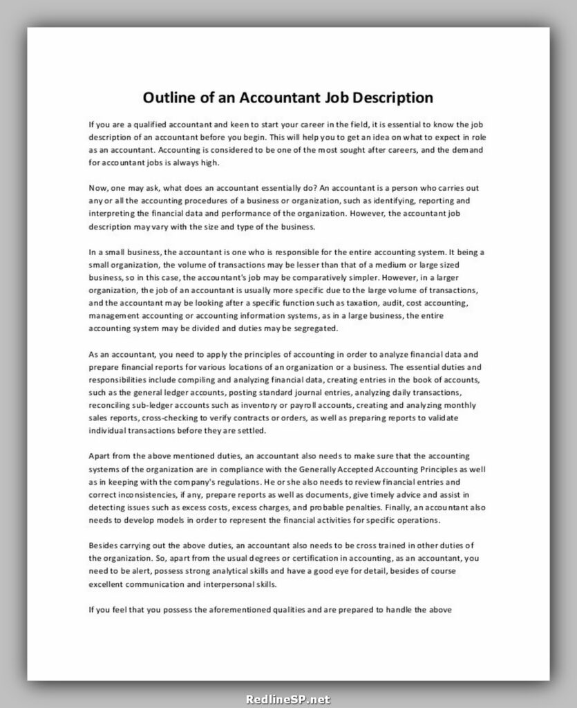 Accountant Job Description Outline