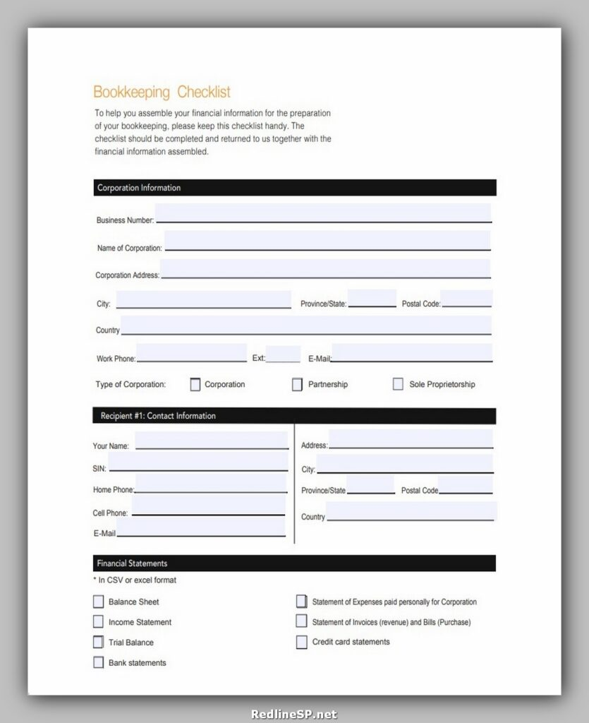 Bookkeeping Client Onboarding Checklist Template