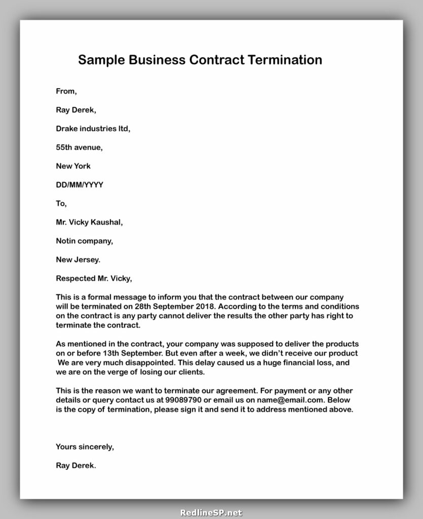 Cancellation of Business Contract letter 02