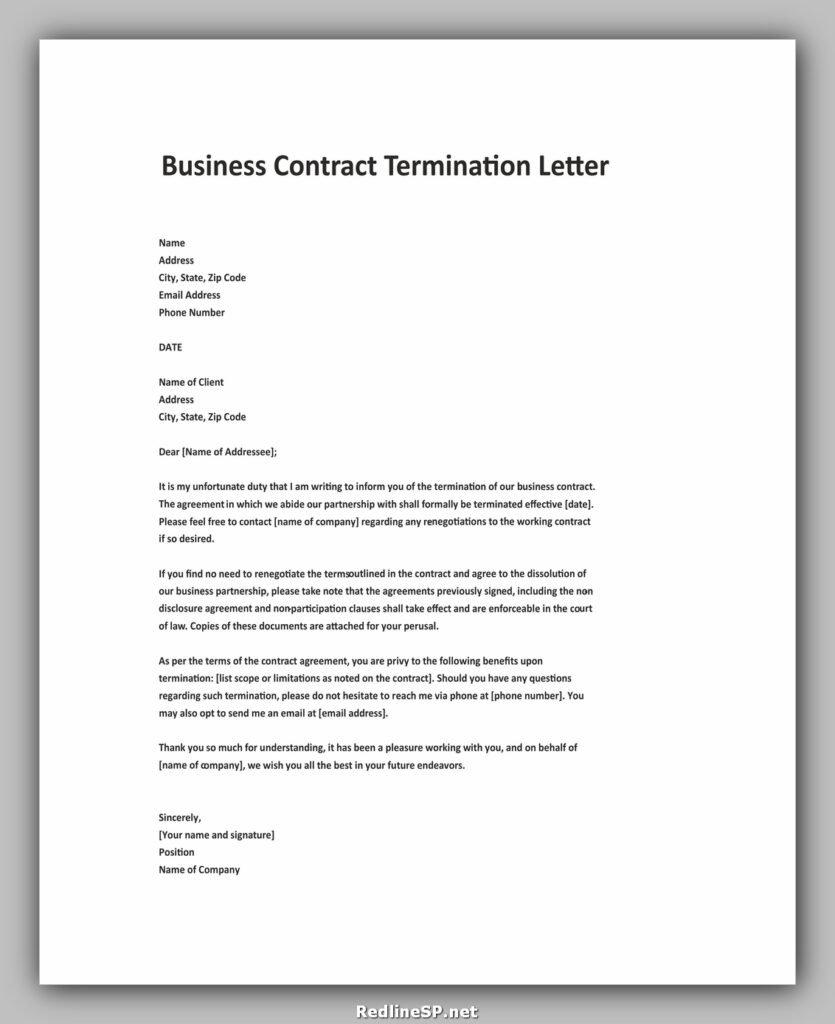 Cancellation of Business Contract letter