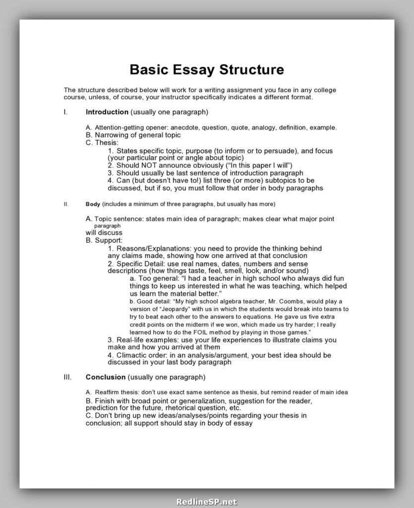 College Essay Template 29