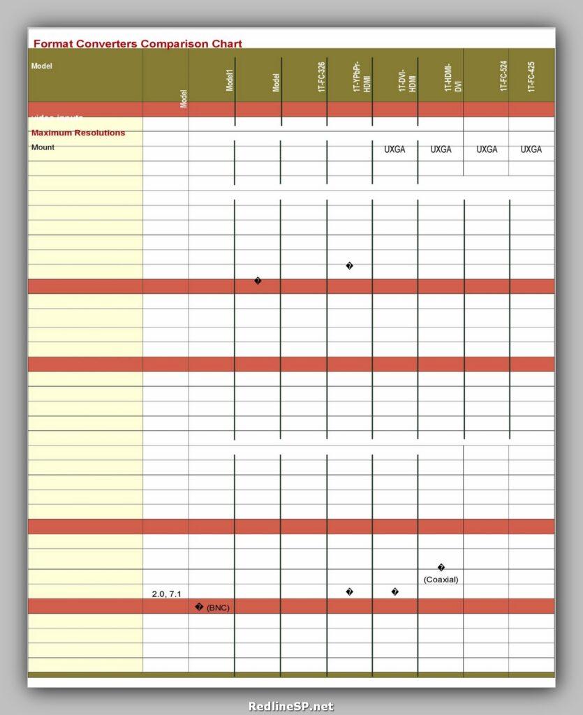 Comparison Chart Template 13