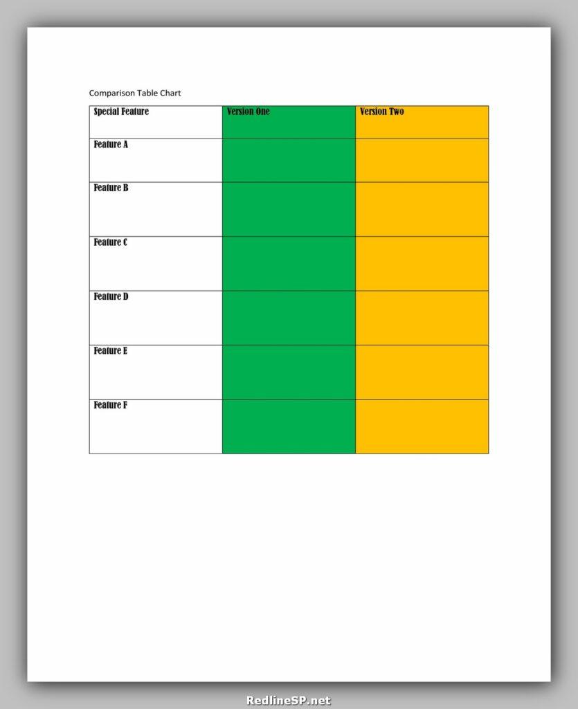 Comparison Chart Template 26