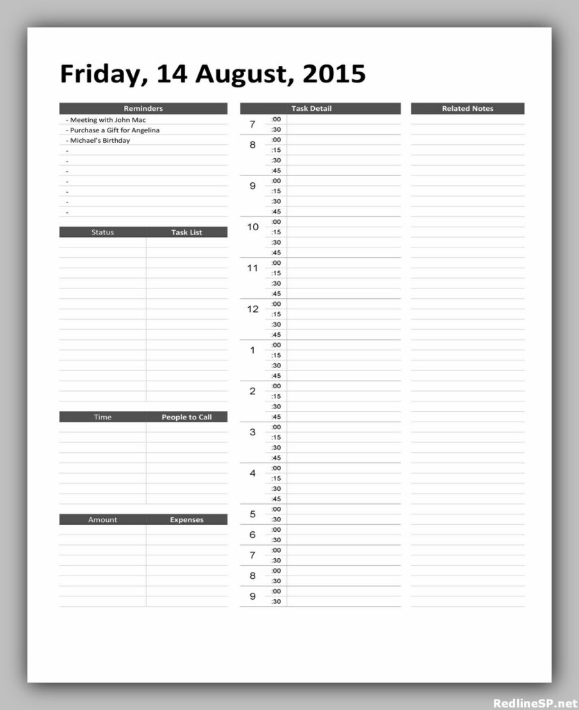 Daily Planner Template Free 24
