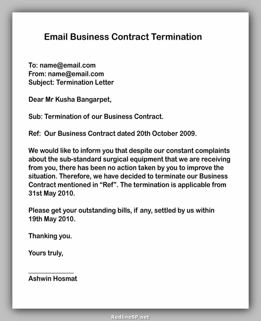 Email Business Contract Termination