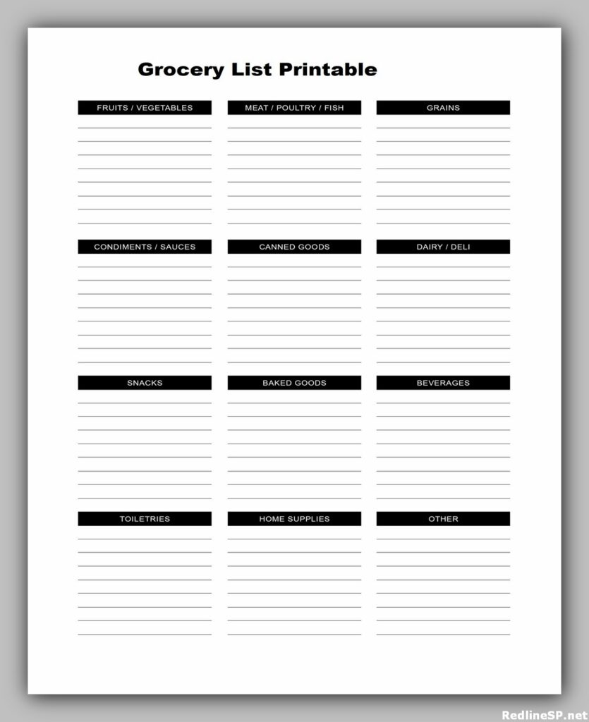 Grocery List Printable Free 01