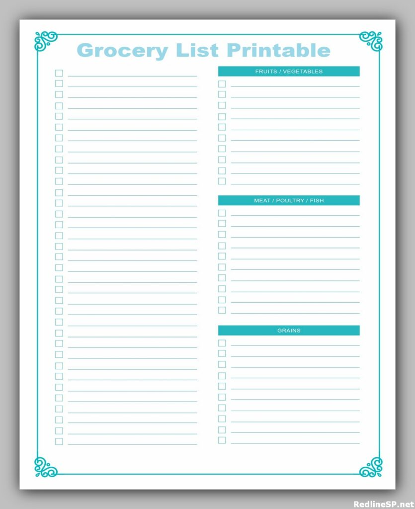 Editable grocery list template