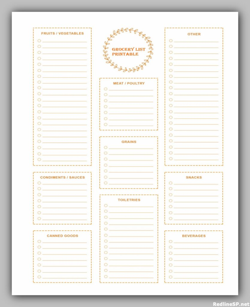 Grocery list template free printable