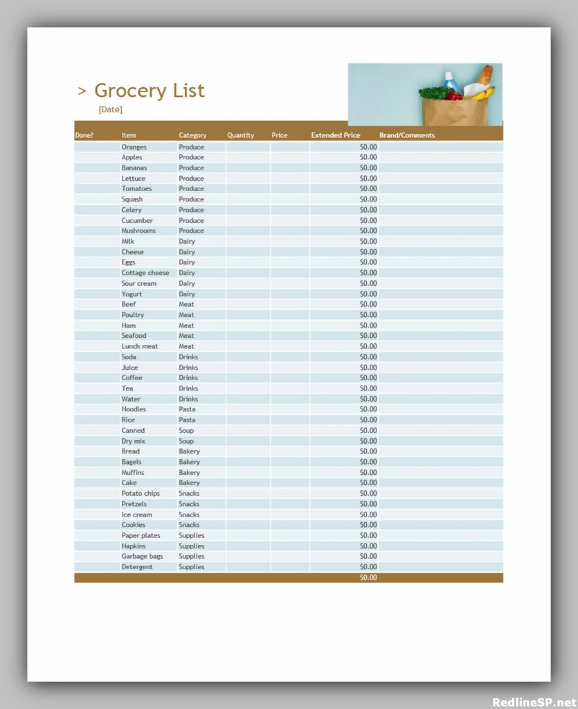 Grocery List Printable Free 09