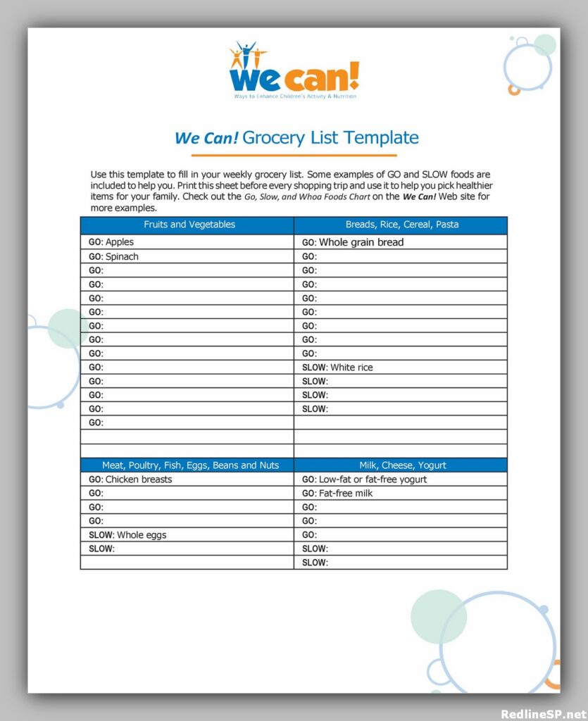 Grocery List Printable Free 13