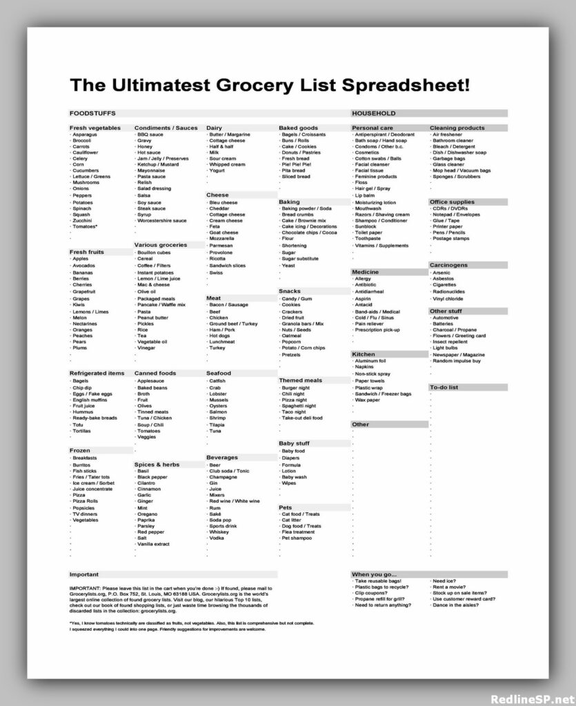 Grocery List Printable Free 18