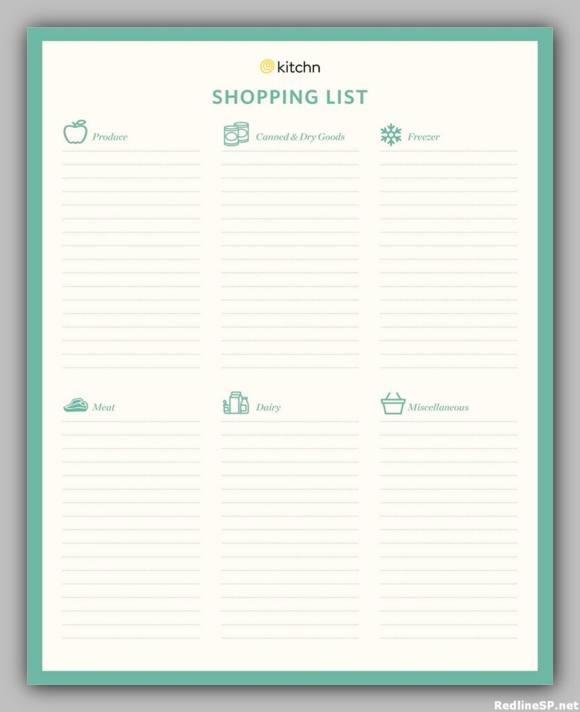 Grocery List Printable Free 25