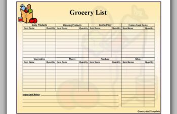 Grocery List Printable Free 34