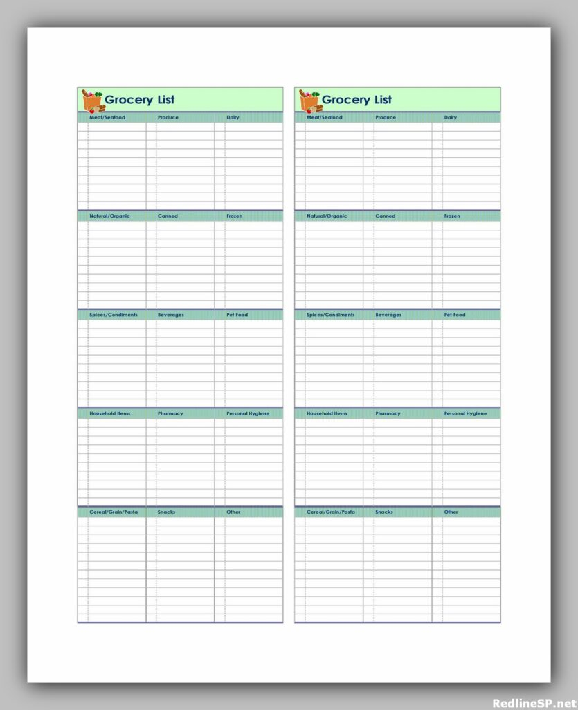 Grocery List Printable Free 38