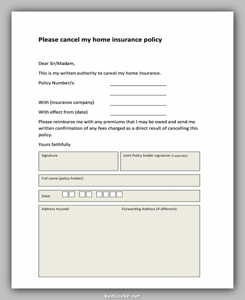 Insurance Cancellation Letter 30