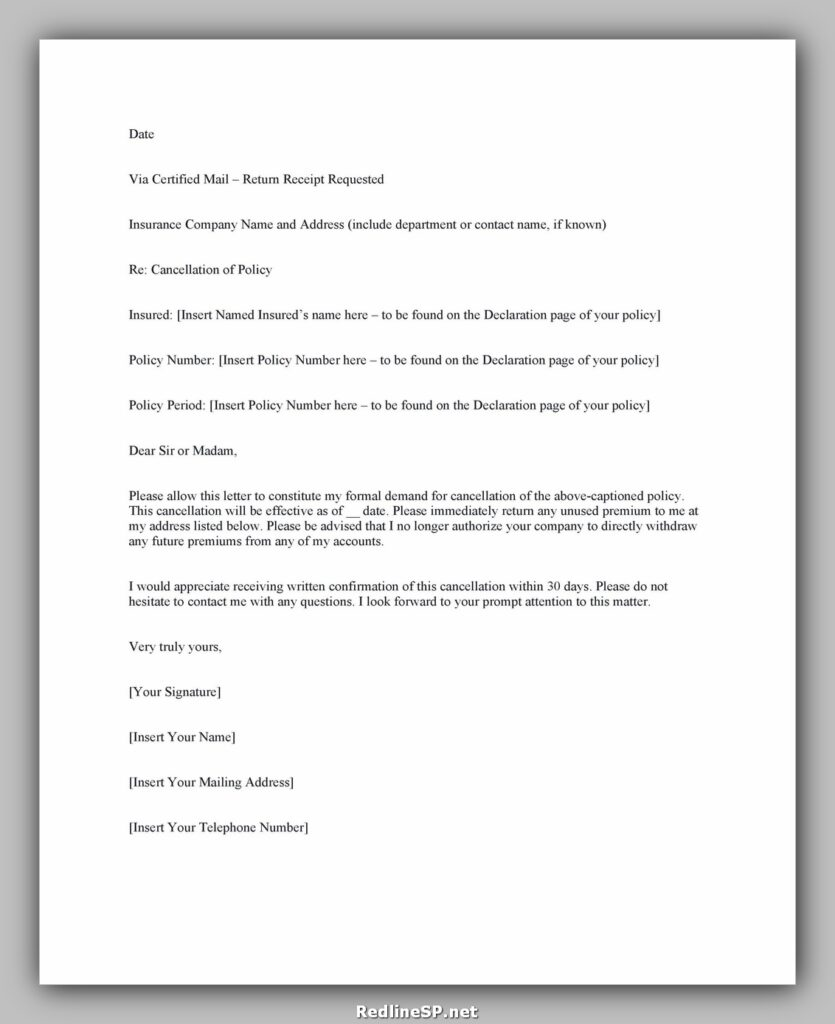 Insurance Cancellation Letter 32