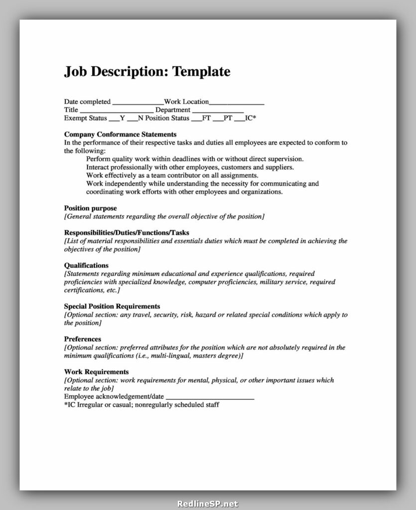 Job Description Template 44
