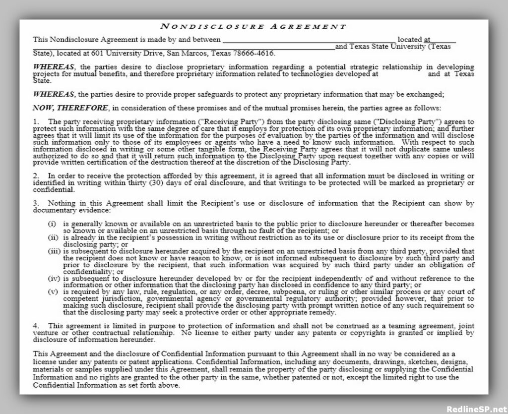 Example of Non-disclosure agreement