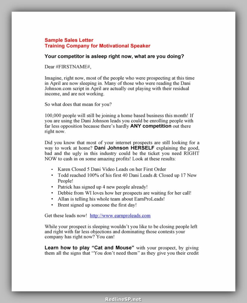 Sales Letter Template 21