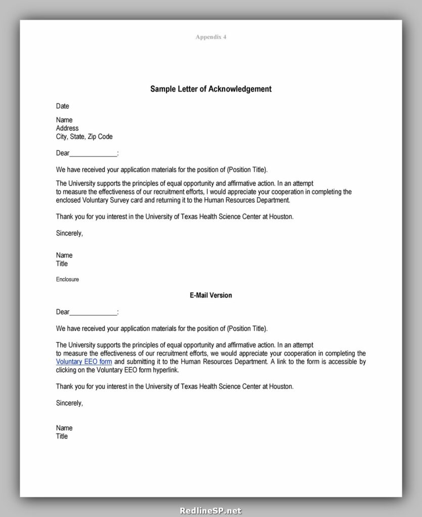 Sample Acknowledgement Letter 04
