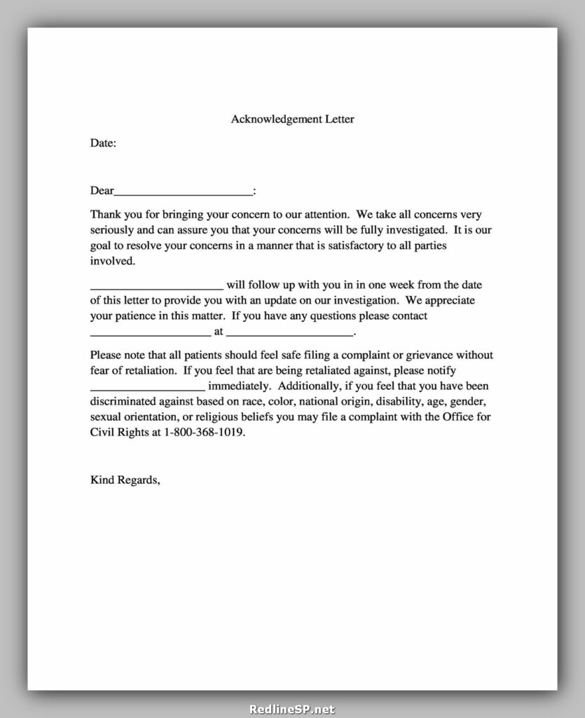 Sample Acknowledgement Letter 14