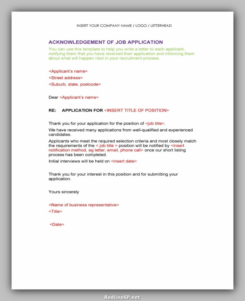 Sample Acknowledgement Letter 15