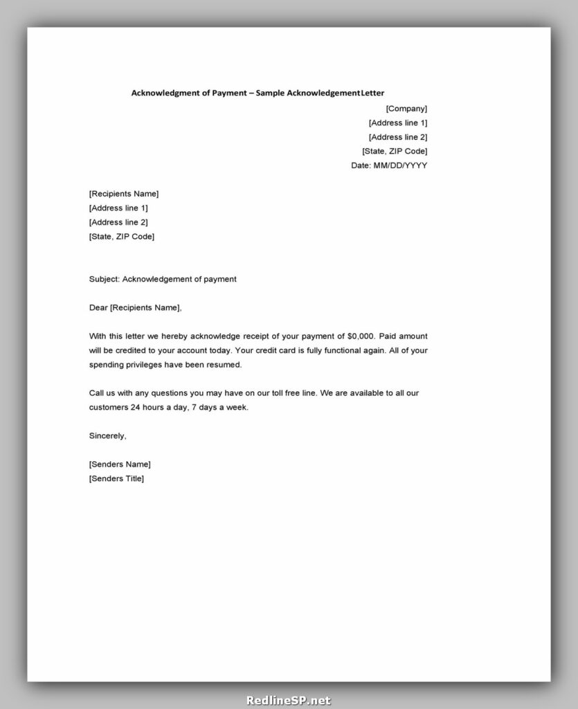 Sample Acknowledgement Letter 25