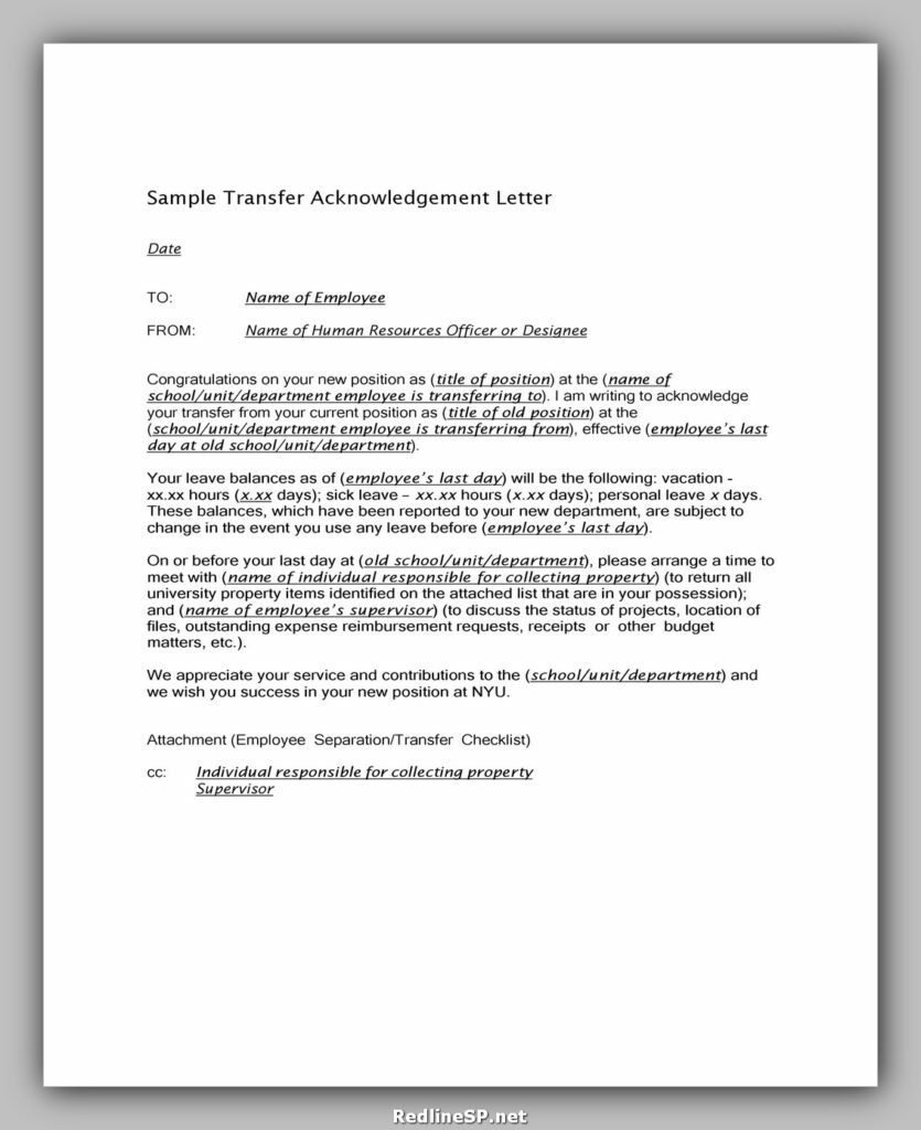 Sample Acknowledgement Letter 27