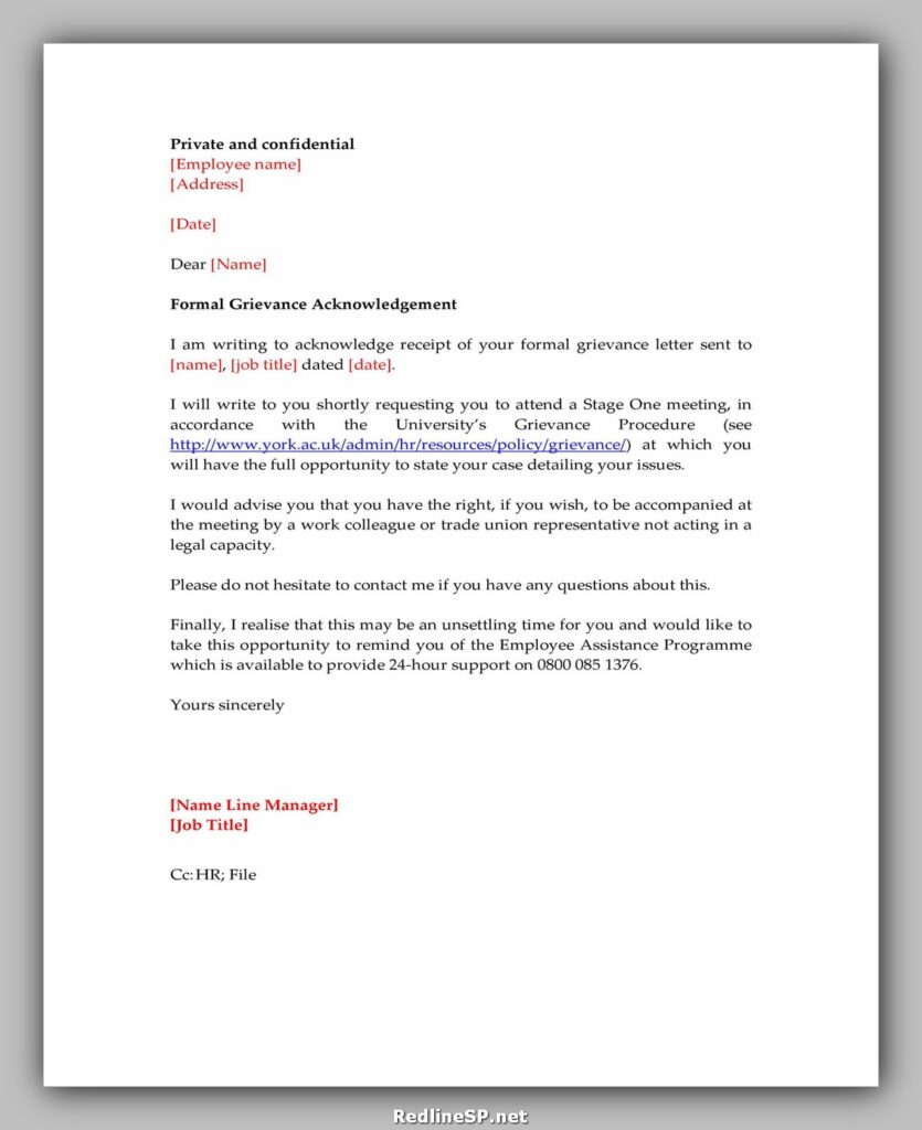 Sample Acknowledgement Letter 28