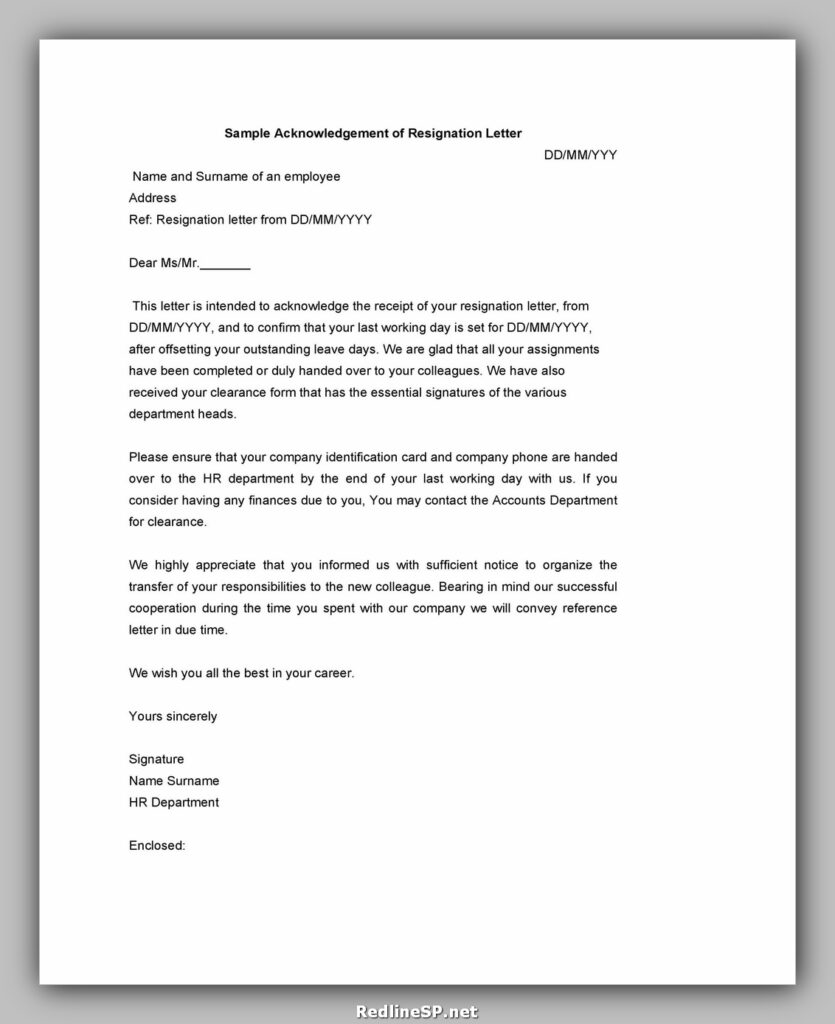 Sample Acknowledgement Letter 31