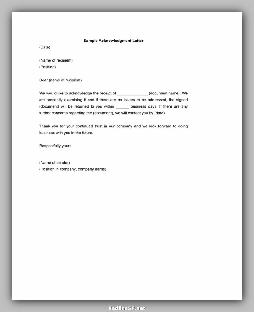 Sample Acknowledgement Letter 32
