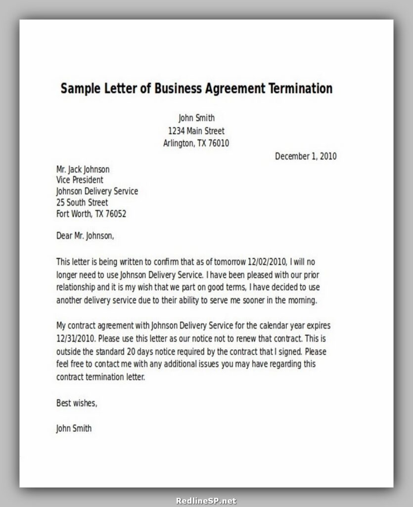 Sample Letter of Business Agreement Termination