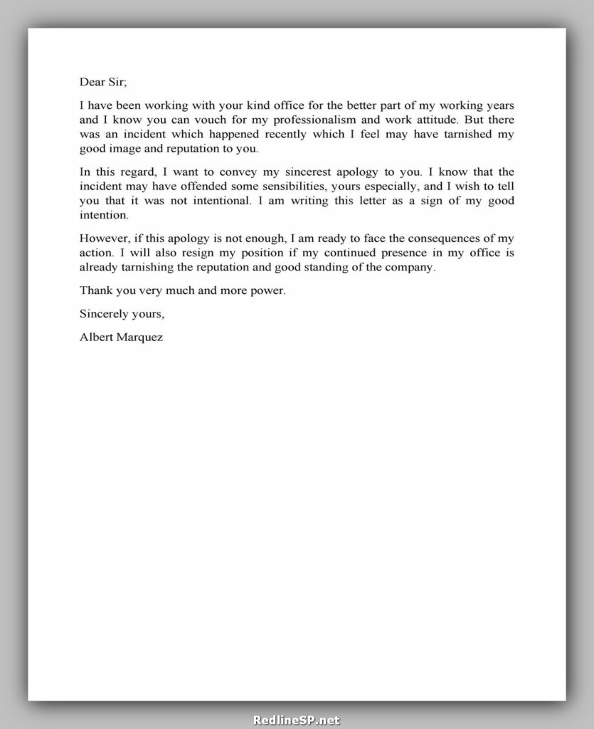 apology letter example 31