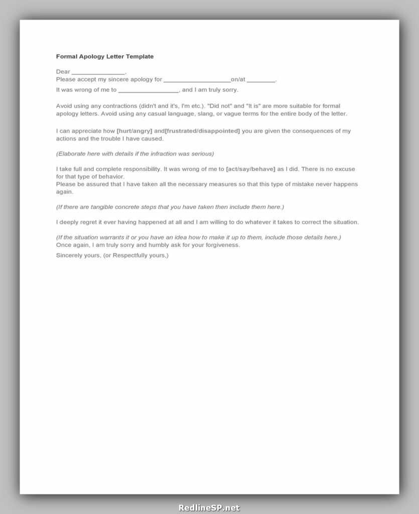 apology letter template 15