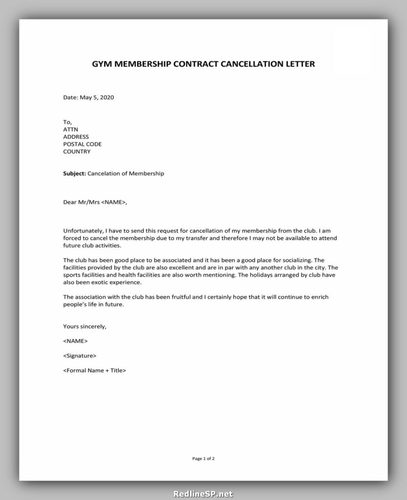 cancellation letter template 20