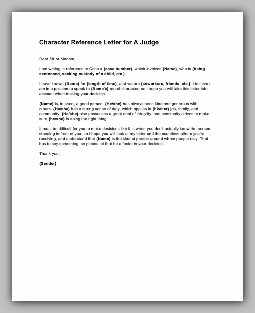 Character reference letter for a judge