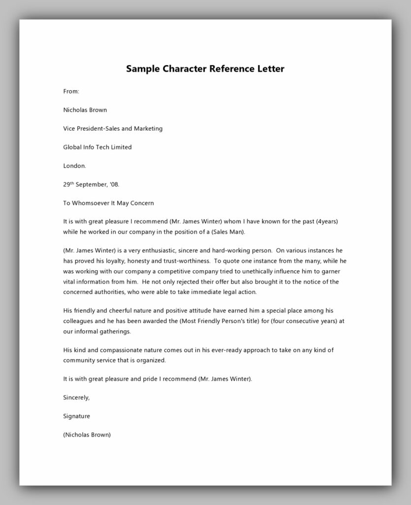 Sample Character Reference Letter Free